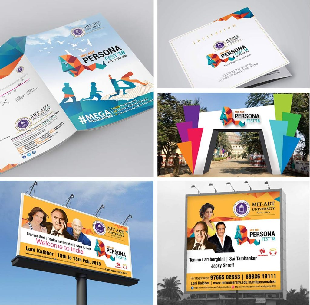MIT-ADT| Persona Fest | Stationery | Logo | Event Design | Hoarding | Identity Card | Year Book | Newspaper Ad | Outdoor  Ad Made By Admonkks
